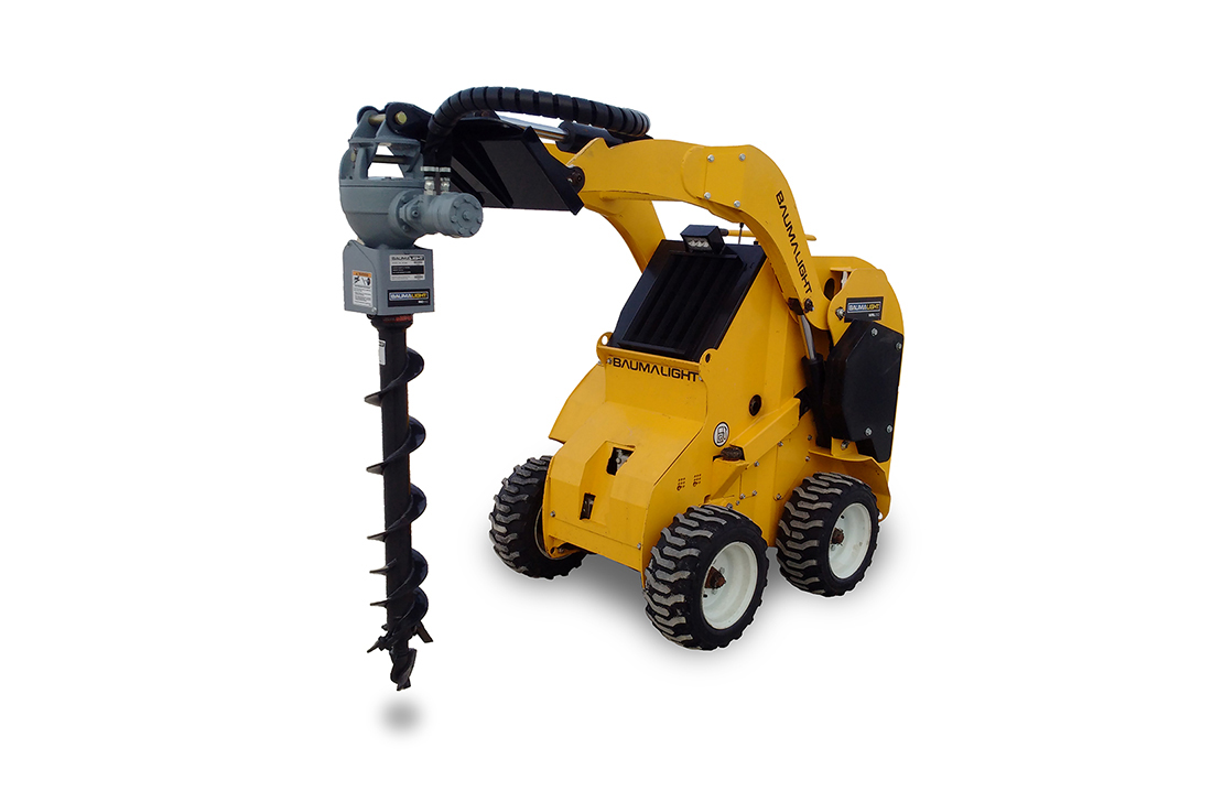 Auger drive on Wheeled mini skidsteer