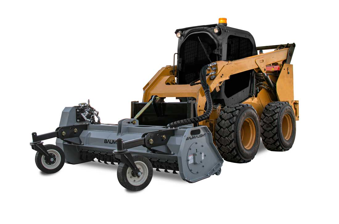 Baumalight Flail Mowers attached to a Skidsteer