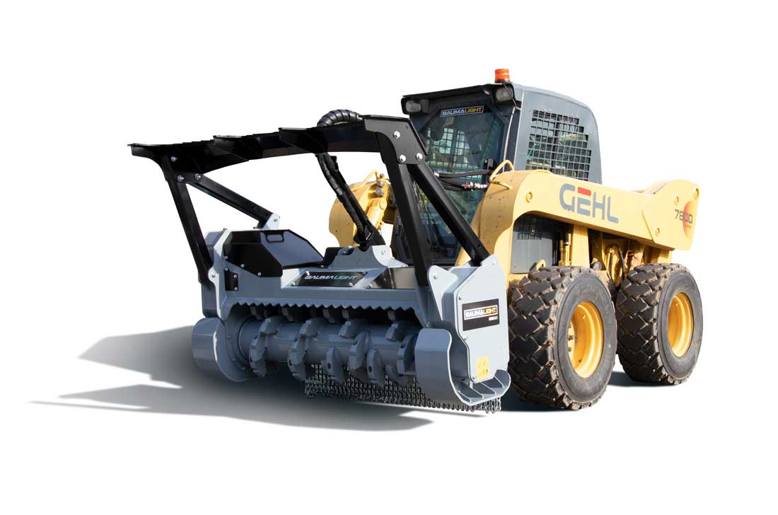 Skidsteer mounted forestry brushmulcher on 7800 Gehl