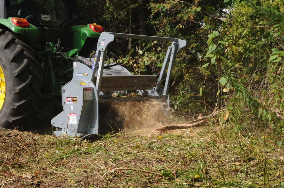 Baumalight PTO Brushfire mulcher in land clearing action