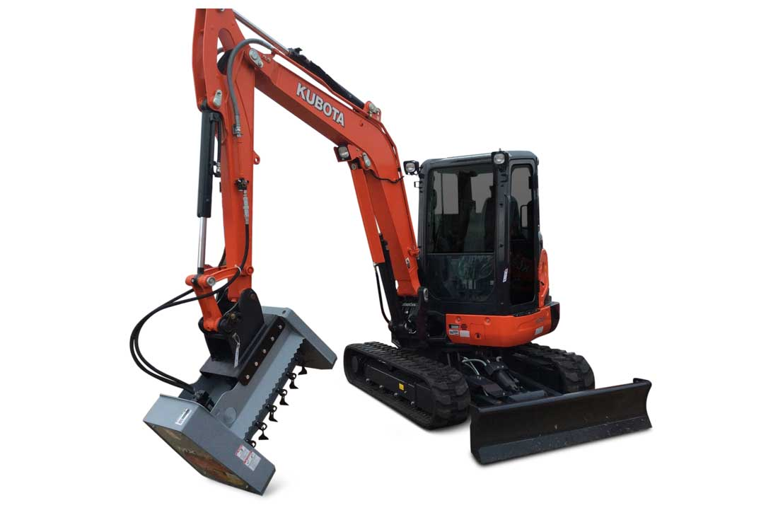 Baumalight flail cutter mounted on mini excavator
