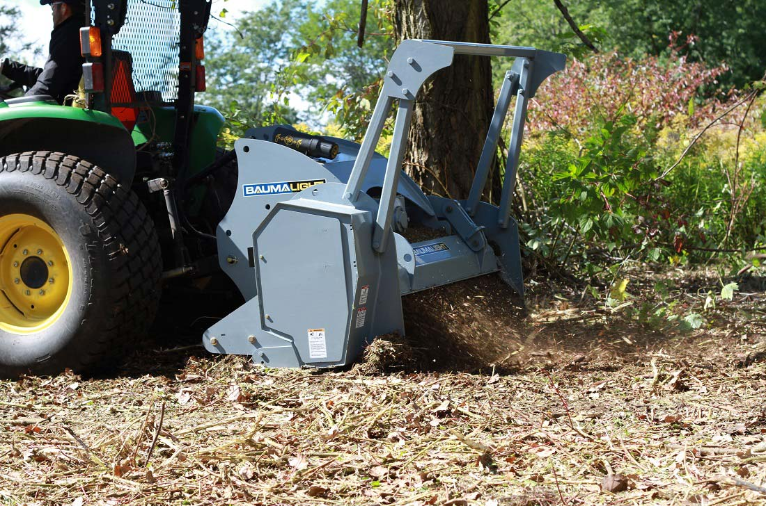 Reduce brush to mulch with a PTO mulcher