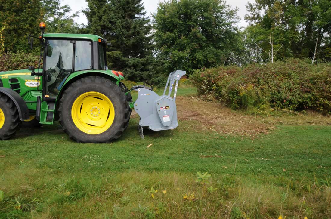 Mulcher mounted on 6430 Johndeer tractor