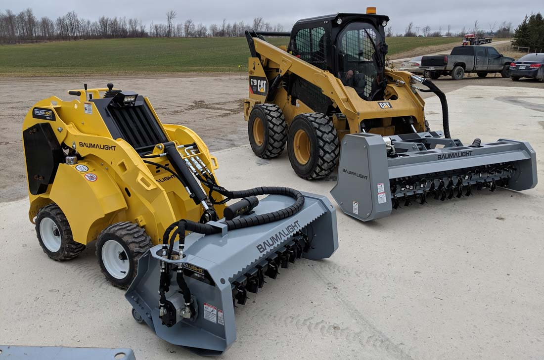 Hydralic driven flail mulchers on display