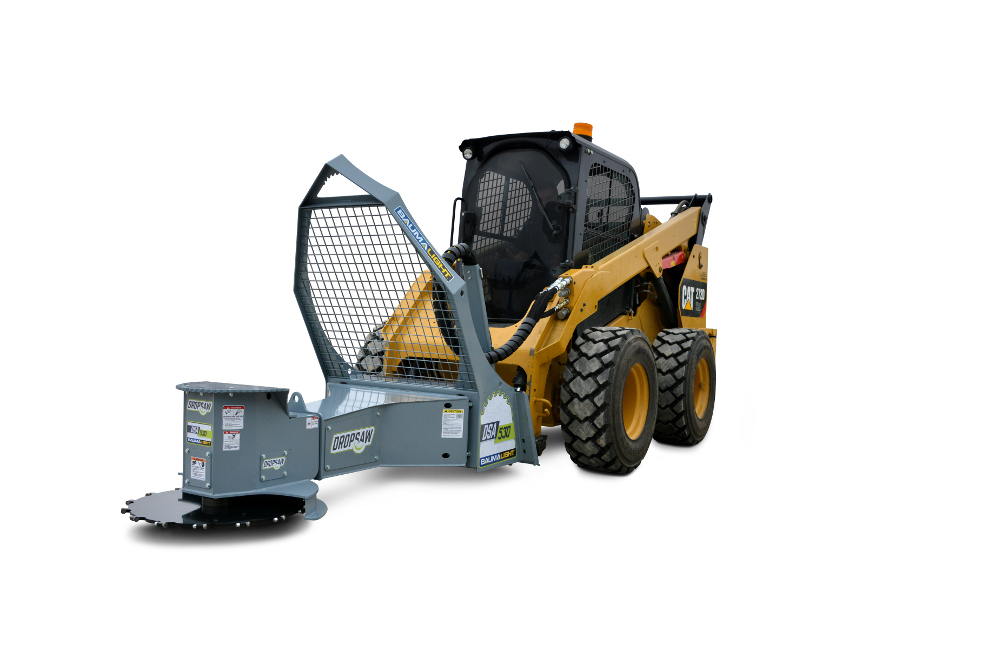 Skidsteer mounted rotating tree saw