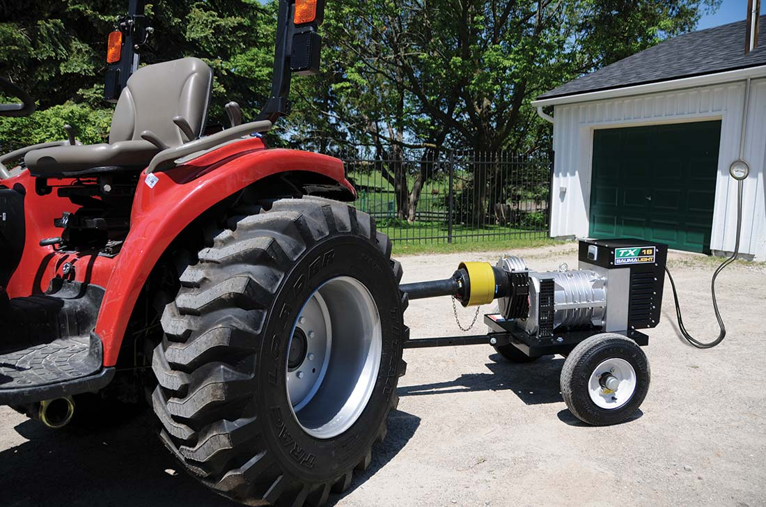 Baumalight TX18 generator on tractor