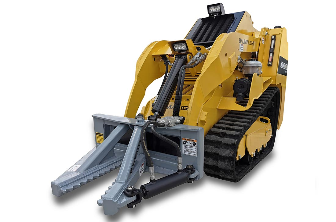 Mini track loader for pasture cleanup