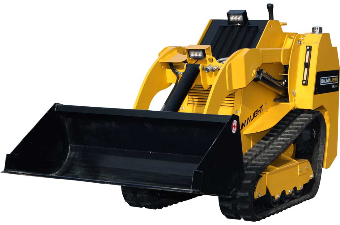 Tracked mini skidsteer front view