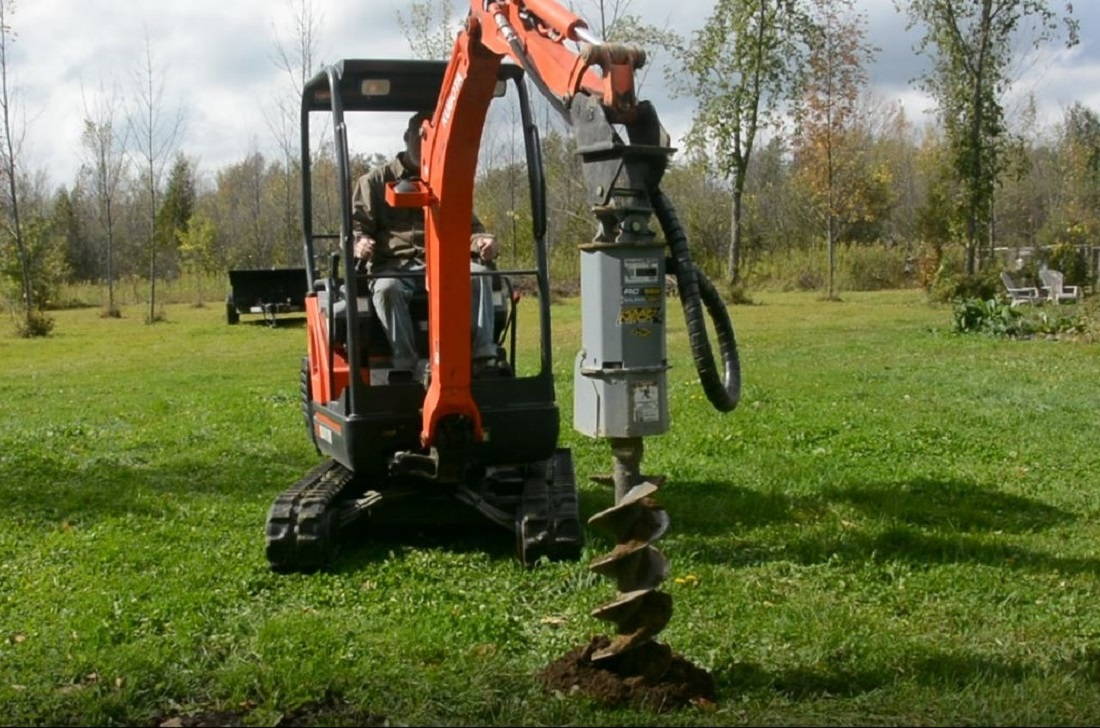 Mini excavator mounted Baumalight auger drive