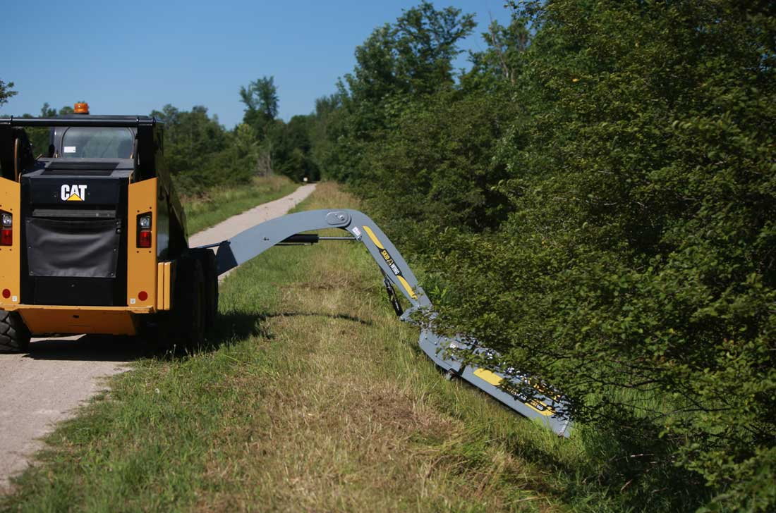 Ditch mowing with skidsteer