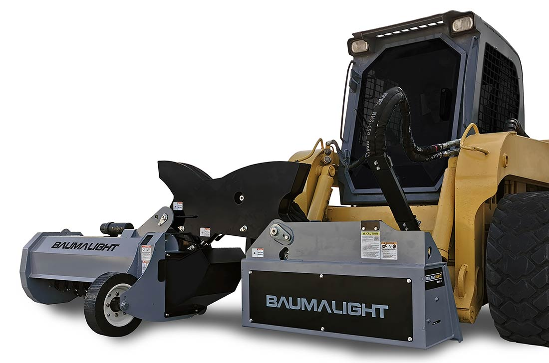 Baumalight ditch mower attached to a skidsteer