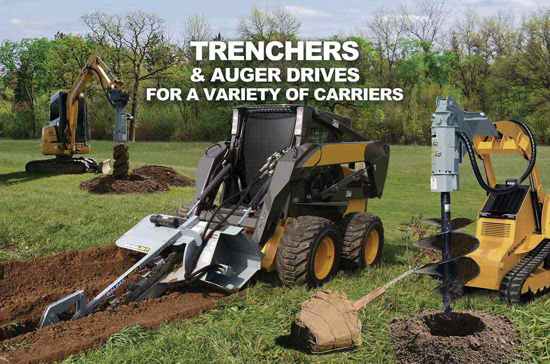 Baumalight Trencher and AugerDrive for variety of carriers on display